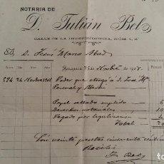 Facturas antiguas: ANTIGUA FACTURA NOTARIA DE D JULIAN BEL. ZARAGOZA 1908. Lote 108044343