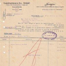 Facturas antiguas: FACTURA LABORATORIOS DR. TRIGO NARANJINA JUGO Y PULPA LIMON Y NARANJA C. SAGUNTO VALENCIA 1937 -D-20. Lote 108806103