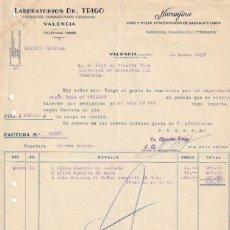 Facturas antiguas: FACTURA LABORATORIOS DR. TRIGO NARANJINA JUGO Y PULPA LIMON Y NARANJA C. SAGUNTO VALENCIA 1937 -D-20. Lote 108806171
