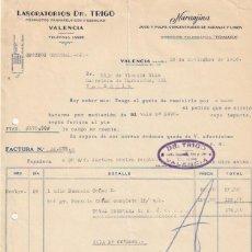 Facturas antiguas: FACTURA LABORATORIOS DR. TRIGO NARANJINA JUGO Y PULPA LIMON Y NARANJA C. SAGUNTO VALENCIA 1936 -D-20. Lote 108806271