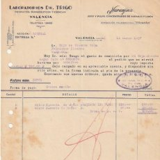 Facturas antiguas: FACTURA LABORATORIOS DR. TRIGO NARANJINA JUGO Y PULPA LIMON Y NARANJA C. SAGUNTO VALENCIA 1937 -D-20. Lote 108806315