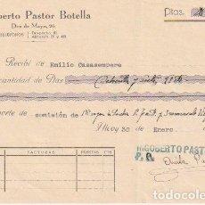 Facturas antiguas: RECIBO RIGOBERTO PASTOR BOTELLA ALCOY 1936 -D-20. Lote 108807563