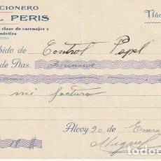 Facturas antiguas: RECIBO GUARNICIONERO MIGUEL PERIS ALCOY 1937 - --D-20. Lote 108807687