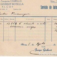 Facturas antiguas: RECIBO AGENCIA TRANSPORTES CAMPELLO JORGE GISBERT BOTELLA ALCOY 1936 - -D-20. Lote 108807831