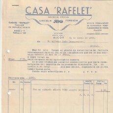 Facturas antiguas: FACTURA AGENCIA OFICIAL LINCOLN FORD CASA RAFELET ALCOY 1936 - -D-20. Lote 108808031