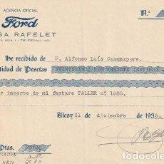 Facturas antiguas: RECIBO AGENCIA OFICIAL LINCOLN FORD CASA RAFELET ALCOY 1935 - -D-20. Lote 108808255