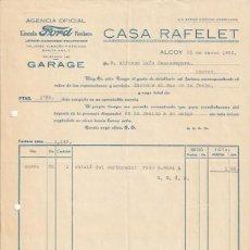 Facturas antiguas: FACTURA AGENCIA OFICIAL LINCOLN FORD CASA RAFELET ALCOY 1936 - -D-20. Lote 108808371
