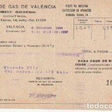 Facturas antiguas: RECIBO FABRICA DE GAS DE VALENCIA CONTROL COMITE OBRERO GUERRA CIVIL 1937 - D-20. Lote 108808599