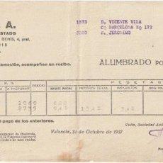 Facturas antiguas: RECIBO ALUMBRADO POR CONTADOR VOLTA S A INTERVENIDA POR EL ESTADO VALENCIA 1937 GUERRA CIVIL -D-20. Lote 108808787