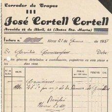 Facturas antiguas: FACTURA JOSE CORTELL CORTELL CORREDOR DE TRAPOS ALCOY 1937 - D-20. Lote 108808963