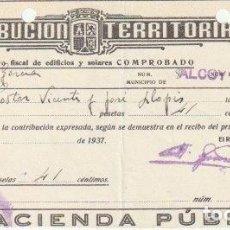 Facturas antiguas: RECIBO CONTRIBUCION RIQUEZA URBANA 1937 ALCOY - -D-20. Lote 108809123