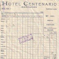 Facturas antiguas: FACTURA HOTEL CENTENARIO BRUIL,2 ZARAGOZA 1949 - -D-20. Lote 108810167