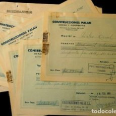Facturas antiguas: LOTE 12 RECIBOS RECIBI DE CONSTRUCCIONES PALAU (AÑOS 1959 A 61) OBRAS Y CONTRATAS-SABADELL BARCELONA. Lote 109099243