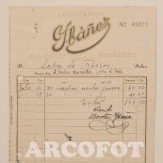 Facturas antiguas: FACTURA - CONFIERÍAS YBÁÑEZ - SALÓN DE RECREO - BURGOS - JULIO 1953. Lote 109576151