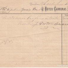 Facturas antiguas: ,,,FACTURA DE ORO FINO POR 3000 PTAS DE J. BOTER CARRERAS, BARCELONA 15/10/1881 A JULIAN GARCIA. Lote 110238651