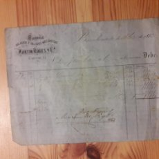 Facturas antiguas: FACTURA 1872 MARTIN RODES FABRICA HILADOS Y TEJIDOS MECANICOS CIUTAT VELLA CARRETAS CARRETES. Lote 111387698
