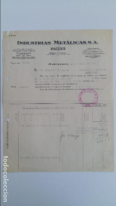 ANTIGUA FACTURA. INDUSTRIAS METALICAS SA. BARCELONA ABRIL 1939 (Coleccionismo - Documentos - Facturas Antiguas)