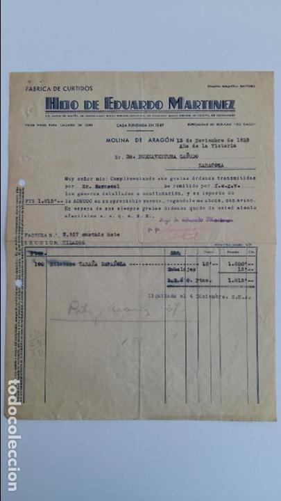 ANTIGUA FACTURA. FABRICA DE CURTIDOS HIJO DE EDUARDO MARTINEZ. MOLINA DE ARAGON. NOVIEMBRE 1939 (Coleccionismo - Documentos - Facturas Antiguas)