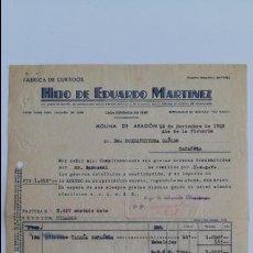 Facturas antiguas: ANTIGUA FACTURA. FABRICA DE CURTIDOS HIJO DE EDUARDO MARTINEZ. MOLINA DE ARAGON. NOVIEMBRE 1939. Lote 111753155