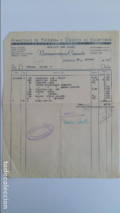 ANTIGUA FACTURA. ALMACENES DE PAPELERIA Y OBJETOS DE ESCRITORIO BUENAVENTURA CANUDO. ZARAGOZA. 1937 (Coleccionismo - Documentos - Facturas Antiguas)