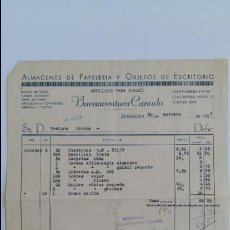 Facturas antiguas: ANTIGUA FACTURA. ALMACENES DE PAPELERIA Y OBJETOS DE ESCRITORIO BUENAVENTURA CANUDO. ZARAGOZA. 1937. Lote 111753415