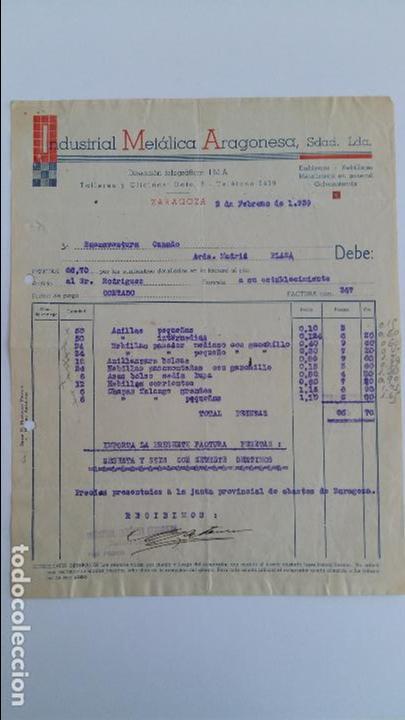 ANTIGUA FACTURA. INDUSTRIAL METALICA ARAGONIESA. ZARAGOZA FEBRERO 1939 (Coleccionismo - Documentos - Facturas Antiguas)