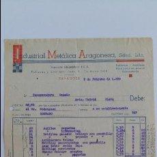 Facturas antiguas: ANTIGUA FACTURA. INDUSTRIAL METALICA ARAGONIESA. ZARAGOZA FEBRERO 1939. Lote 111753679