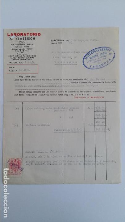 ANTIGUA FACTURA. LABORATORIO A KLAEBISCH. MAYO 1943. DELEGACION DE ZARAGOZA (Coleccionismo - Documentos - Facturas Antiguas)