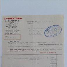 Facturas antiguas: ANTIGUA FACTURA. LABORATORIO A KLAEBISCH. MAYO 1943. DELEGACION DE ZARAGOZA. Lote 111753955