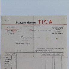 Facturas antiguas: ANTIGUA FACTURA. PRODUCTOS QUIMICOS TICA. NOVIEMBRE 1944. DELEGACION DE ZARAGOZA. Lote 111754203