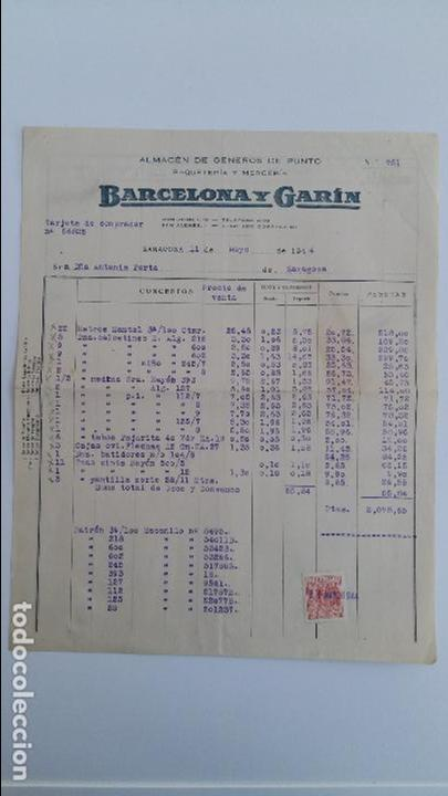 ANTIGUA FACTURA. ALMACEN GENEROS DE PUNTO BARCELONA Y GARIN ZARAGOZA. MAYO 1944 (Coleccionismo - Documentos - Facturas Antiguas)