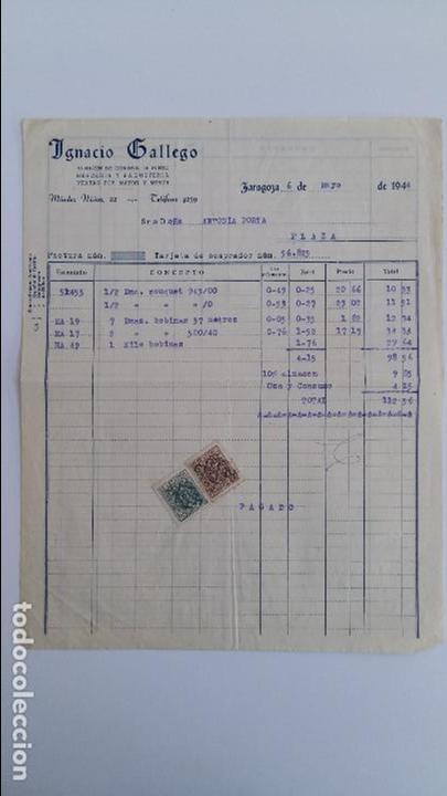 ANTIGUA FACTURA. ALMACEN GENEROS DE PUNTO IGNACIO GALLEGO ZARAGOZA. MAYO 1944 (Coleccionismo - Documentos - Facturas Antiguas)
