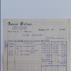 Facturas antiguas: ANTIGUA FACTURA. ALMACEN GENEROS DE PUNTO IGNACIO GALLEGO ZARAGOZA. MAYO 1944. Lote 111754631