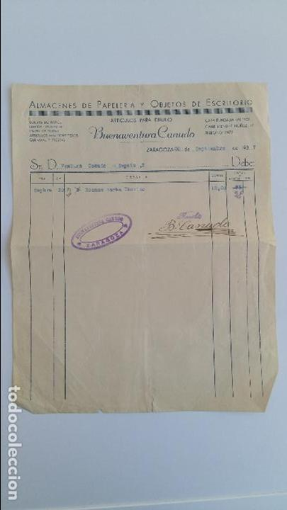ANTIGUA FACTURA. ALMACENES DE PAPELERIA Y OBJETOS DE ESCRITORIO. BUENAVENTURA CANUDO. ZARAGOZA 1937 (Coleccionismo - Documentos - Facturas Antiguas)
