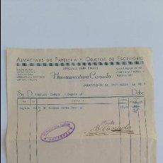 Facturas antiguas: ANTIGUA FACTURA. ALMACENES DE PAPELERIA Y OBJETOS DE ESCRITORIO. BUENAVENTURA CANUDO. ZARAGOZA 1937. Lote 111755559