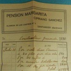 Facturas antiguas: FACTURA - PENSION MARGARITA - CIPRIANO SANCHEZ - EL SARDINERO - SANTANDER - AÑOS 40-50. Lote 112287839