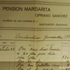 Facturas antiguas: FACTURA - PENSION MARGARITA - CIPRIANO SANCHEZ - EL SARDINERO - SANTANDER - AÑOS 40-50. Lote 112287863