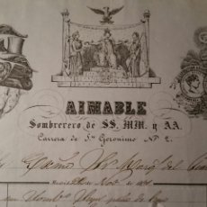 Facturas antiguas: MADRID 1861 FACTURA AL MARQUÉS DEL PUERTO SOMBRERERIA AIMABLE. Lote 112569343