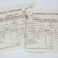 Facturas antiguas: PAREJA DE ANTIGUAS FACTURAS - ALUMBRADO-CONTADOR SOCIEDAD HIDROELÉCTRICA DEL CHORRO - ARCHIDONA,1945. Lote 112602127