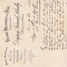 Fatture antiche: TISSAGE MÉCANIQUE DU PARC TISSAGE A LA MAIN FRANCIA 1903. Lote 112704639