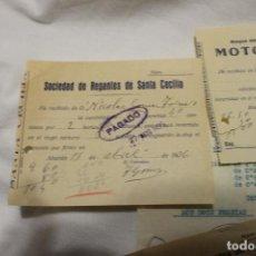 Facturas antiguas: FACTURAS, MOTOR FERRER, SOCIEDAD DE REGANTES CECILIA, SERVICIO MUNICIPAL AGUAS, ABARAN 1936. Lote 112819911