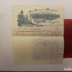 Facturas antiguas: FACTURA OLIVELLA HERMANOS POR UNA COLUMNA Y UN JARRÓN SÈVRES, 1914, 27X22 CM. Lote 112853487
