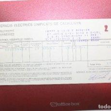 Facturas antiguas: FACTURA SERVEIS ELECTRICS UNIFICATS DE CATALUNYA, 1936-1937, GUERRA CIVIL, REPÚBLICA. Lote 112855115
