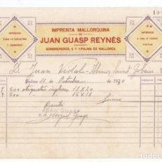 Facturas antiguas: FACTURA. IMPRENTA MALLORQUINA. JUAN GUASP REYNÉS. PALMA DE MALLORCA. BALEARES. 1930. Lote 112878491
