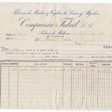 Facturas antiguas: FACTURA. FÁBRICAS DE MANTAS Y TEJIDOS. COMPAÑÍA FABRIL. PALMA DE MALLORCA. 1929. BALEARES.. Lote 112878591