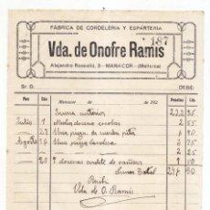 Facturas antiguas: FACTURA. FÁBRICA DE CORDELERÍA Y ESPARTERÍA VDA. DE ONOFRE RAMIS. MANACOR. MALLORCA. BALEARES. 192?. Lote 112878731