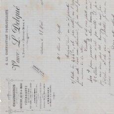 Facturas antiguas: VEUVE L.DELQUÉ NARBONNE FRANCIA 1905. Lote 112957931