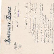 Facturas antiguas: LAURENT ROUX PARIS FRANCIA 1903. Lote 112958047