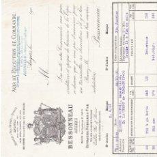 Facturas antiguas: AVIS RECEPTION DE COMMANDE ANGERS FRANCIA 1900. Lote 112958163