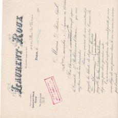 Facturas antiguas: LAURENT ROUX PARIS FRANCIA 1903. Lote 112958571